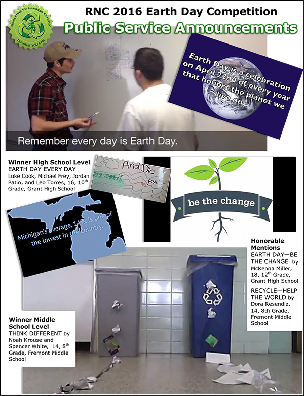 2016 Earth Day PSA Results Flyer